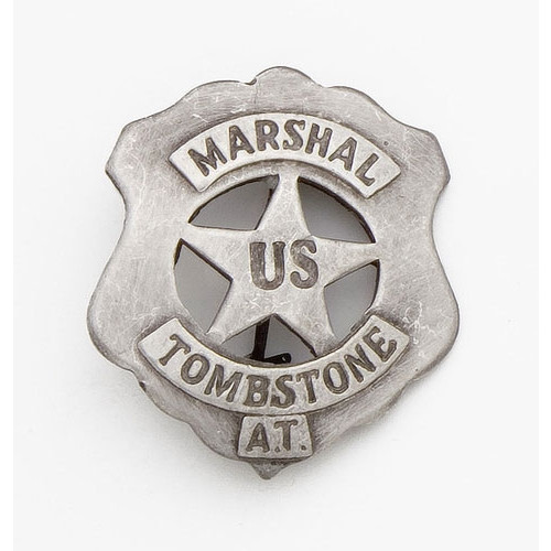 Old West U.S. Tombstone Marshall's Badge -  Silver