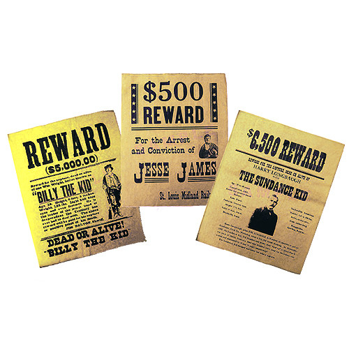 Replica Wanted Poster Set Billy the Kid, Jesse James, The Sundance Kid