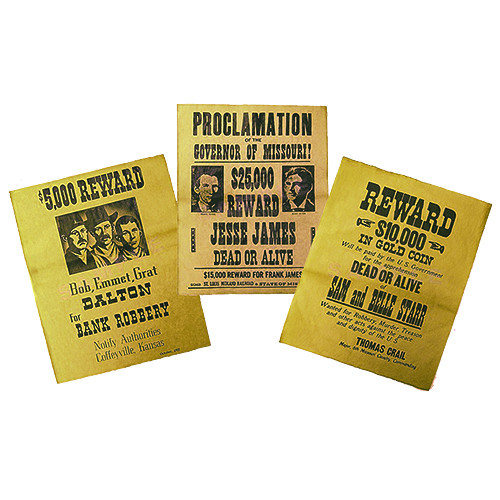 Replica Wanted Poster Set Dalton Gang, James Brothers, Sam & Belle Starr