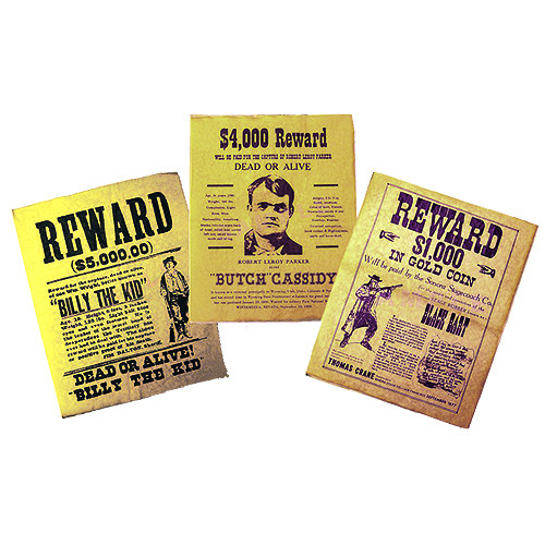 Replica Wanted Poster Set Billy the Kid, Butch Cassidy, Black Bart