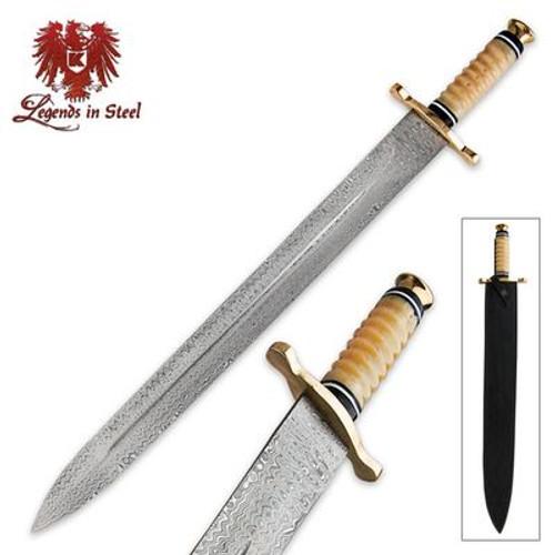Legends In Steel Genuine Bone & Damascus Steel Sword