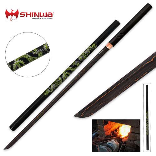 Shinwa Green Dragon Black Damascus Nodachi Sword