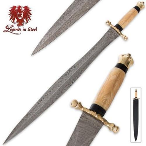 Legends In Steel Persian Carved Bone & Damascus Steel Sword