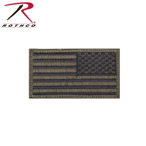 Reverse US Flag Patch w/Hook Back - Olive Drab