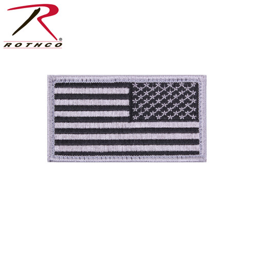 Reverse US Flag Patch w/Hook Back - Silver