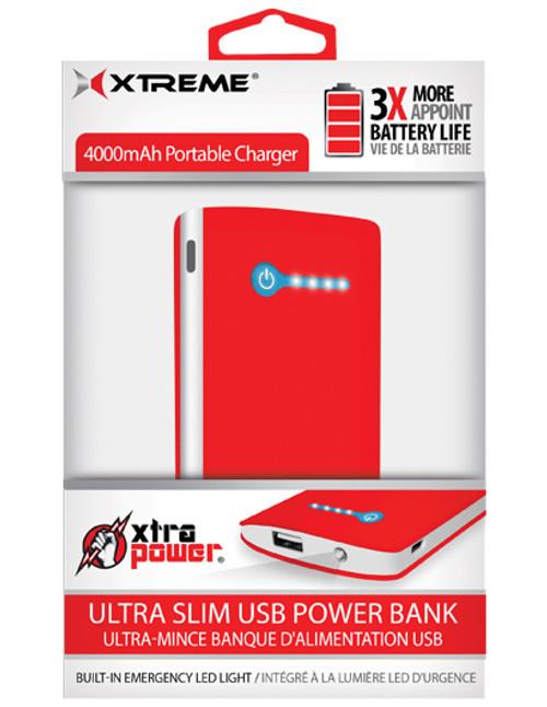 Xtreme Xtra Power 4000mAh Ultra Slim USB Power Bank