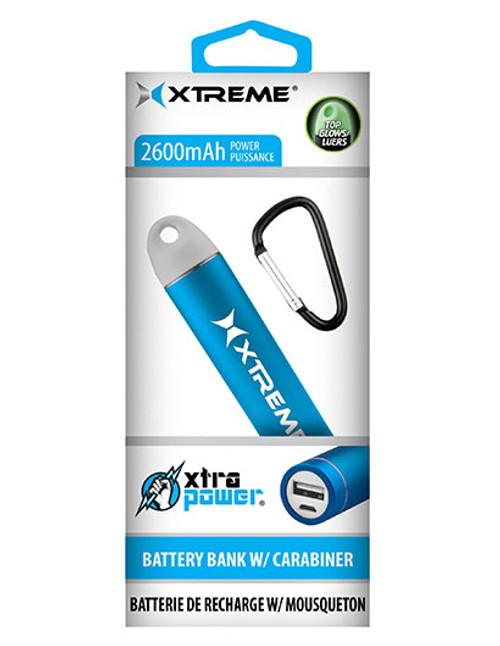 Xtreme Xtra Power 2600mAh Metallic USB Battery Bank w/ Carabiner - Blue