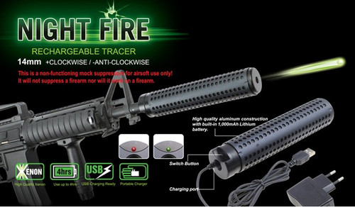 Night Fire Dual Sensor Airsoft Auto Tracer/Mock Silencer Extension - Negative
