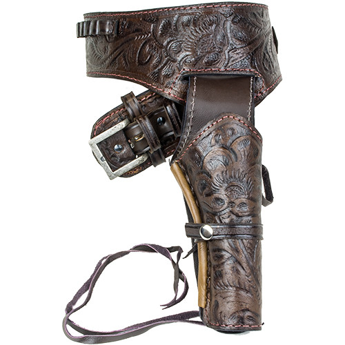 Deluxe Tooled Antiqued Brown Leather Western Holster