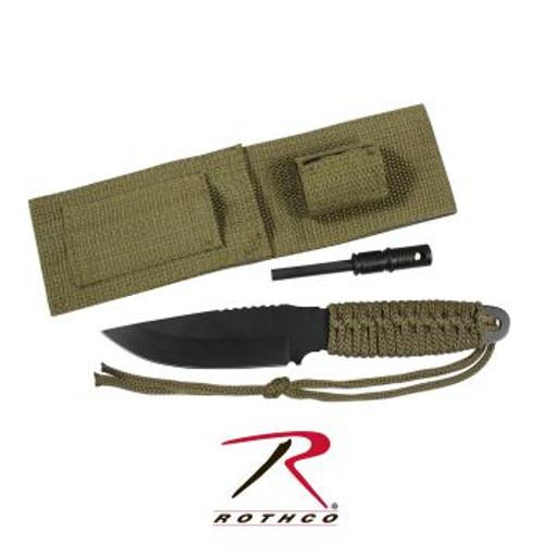 Rothco Large Paracord Knife With Fire Starter - Olive Drab