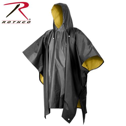 Reversible PVC Poncho - Black/Yellow