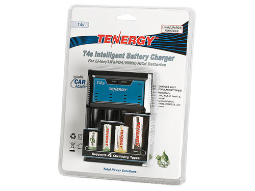 Tenergy T4s Intelligent Universal Battery Charger for Li-Ion / LiFe PO4 / NiMH / NiCd Batteries