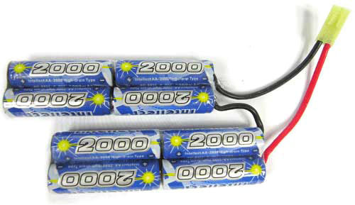 Intellect High Output 9.6V 2000mAh Ni-MH Custom Type Battery (For PEQ box, M4, AK47 and AUG)