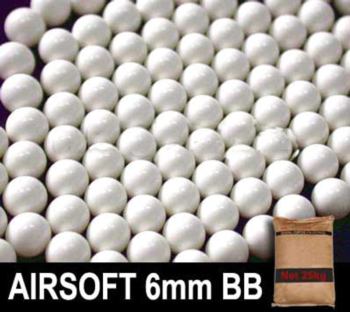 Matrix 0.20g Match Grade 6mm Airsoft BB Rice Bag Bulk Buy - 25KG/ White