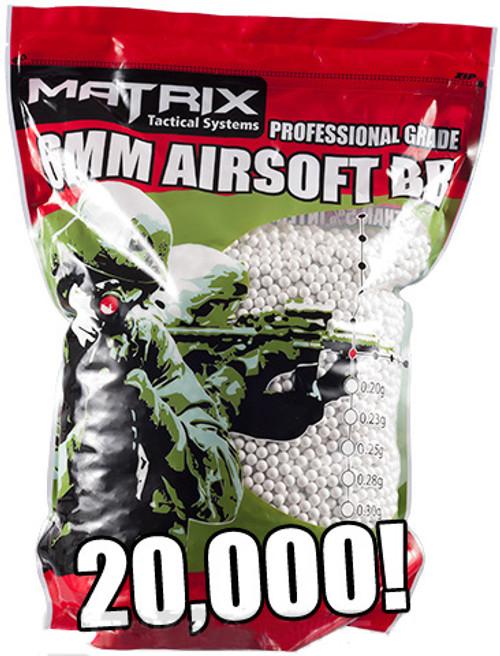 Matrix 0.25g Match Grade 6mm Airsoft BB Bulk Buy Bag- 20,000/ White