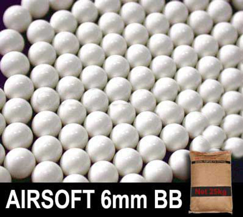 Matrix 0.25g Match Grade 6mm Airsoft BB Rice Bag Bulk Buy - 25KG White