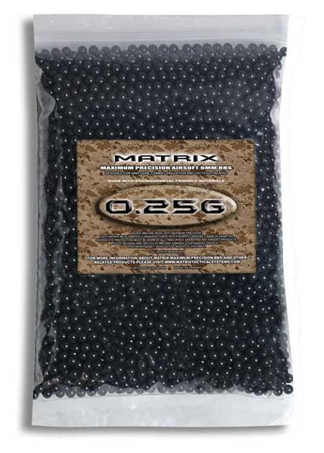 Matrix 0.25g Match Grade 6mm Airsoft BB - 2,000/ Black