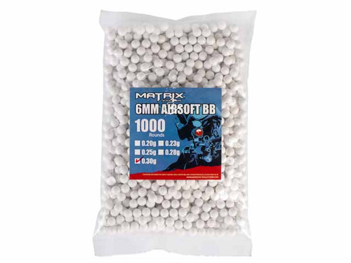 Matrix 0.30g Match Grade 6mm Airsoft BB - 1,000/ White