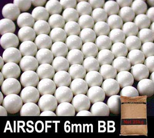 Matrix 0.30g Match Grade 6mm Airsoft BB Rice Bag Bulk Buy - 25KG/ White