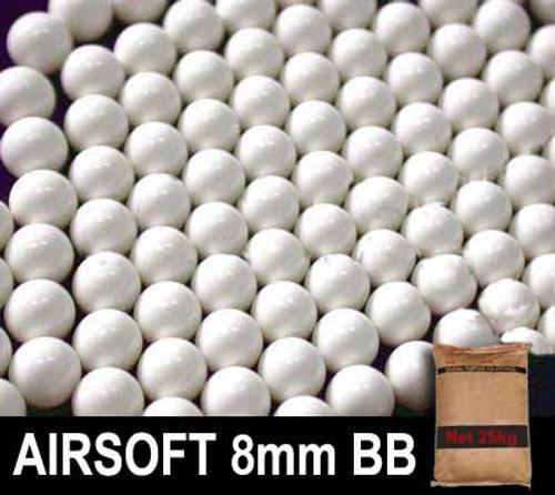 Matrix 0.34g Match Grade 8mm Airsoft BB Rice Bag Bulk Buy - 25KG  White