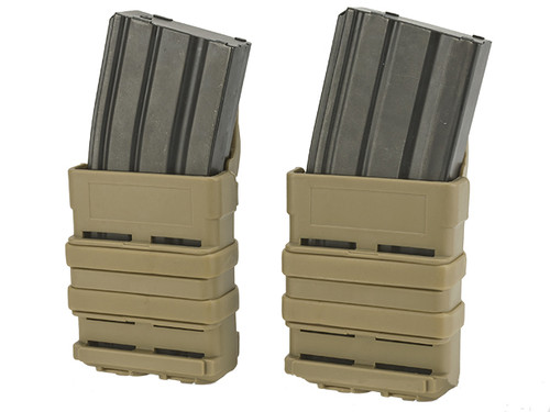 High Speed MOLLE Compatible Airsoft M4 Mag Carrier - Dark Earth  Set of 2