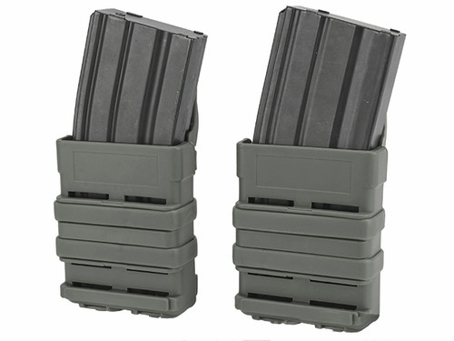 High Speed MOLLE Compatible Airsoft M4 Mag Carrier - Foliage Green  Set of 2