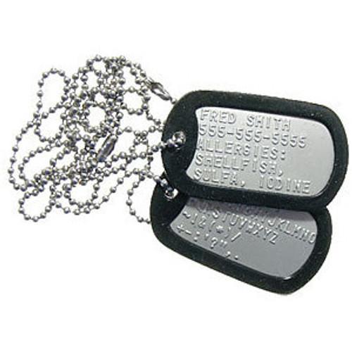 Stamped U.S. Military Dog Tag Set W/Silencers