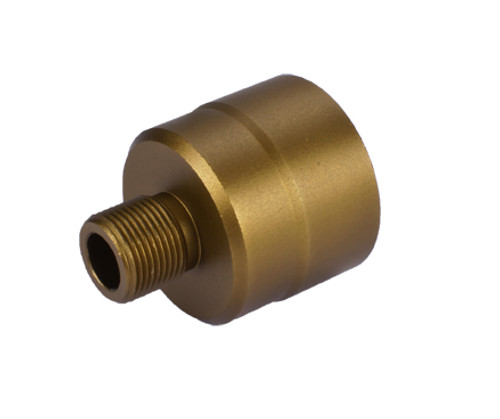 G&G 14mm Negative Threaded Adapter for KWA KMP9 Series Airsoft GBB SMG's - Tan