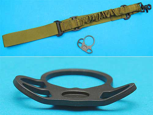 G&P Real Steel / WA / WE Type One Point Bungee Sling w/ Sling Plate (OD Green)