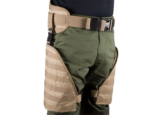 Matrix Tactical Systems MOLLE Lumbar Belt & Leg Protection System w/ Thigh Rig - Tan