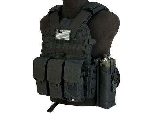 Avengers 6D9T4A Tactical Vest with Magazine and Radio Pouches - Black