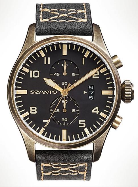 Szanto 4001 Distressed Bronze Finish - Black Dial