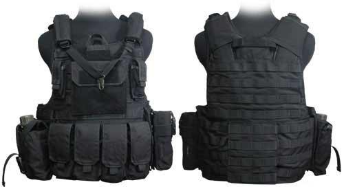 Phantom CORDURA 1000 Denier Force Recon Tactical Vest Full Set (Black / Large)