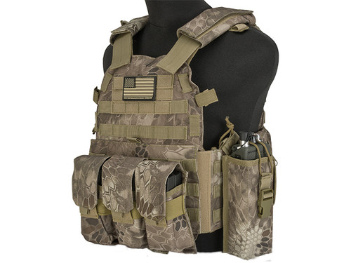 Avengers 6D9T4A Tactical Vest with Magazine and Radio Pouches - Arid Serpent