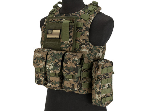 Avengers Military Style MOD-II Quick Release Body Armor Vest - Digital Woodland