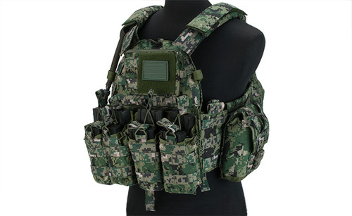 TMC 1065 Tactical Plate Carrier Set with Set of 7 Pouches - Digital Woodland