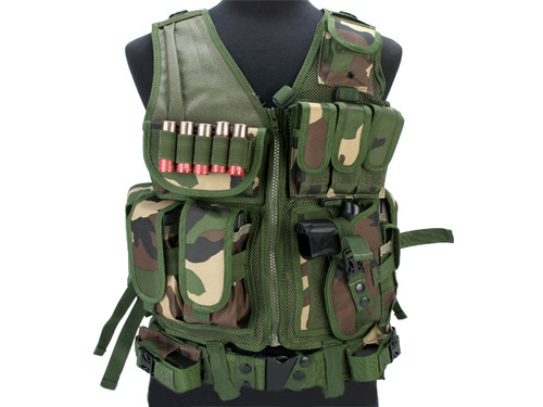 Matrix Special Force Cross Draw Tactical Vest w/ Built In Holster & Mag Pouches - Woodland