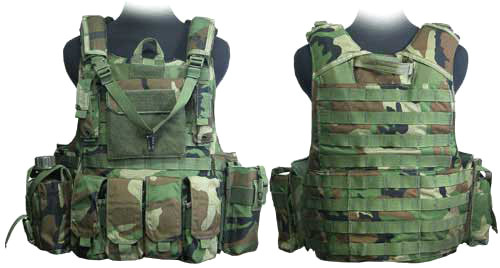 Phantom CORDURA 1000 Denier Force Recon Tactical Vest Full Set (Woodland Camo / Large)
