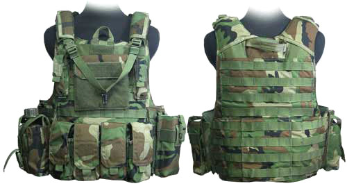 Phantom CORDURA 1000 Denier Force Recon Tactical Vest Full Set (Woodland Camo / Medium)