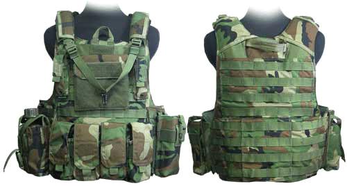 Phantom CORDURA 1000 Denier Force Recon Tactical Vest Full Set (Woodland Camo / XL)