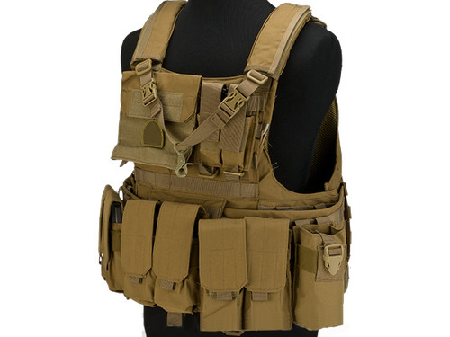 Matrix Assault Plate Carrier Vest w/ Cummerbund & Pouches - Coyote