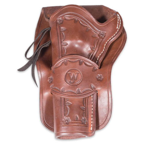 Western Justice Hand-Tooled Mahogany Leather Holster – Left Hand