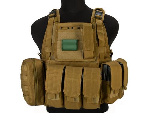 Matrix Medium Assault Plate Carrier Vest w/ Cummerbund & Pouches - Tan