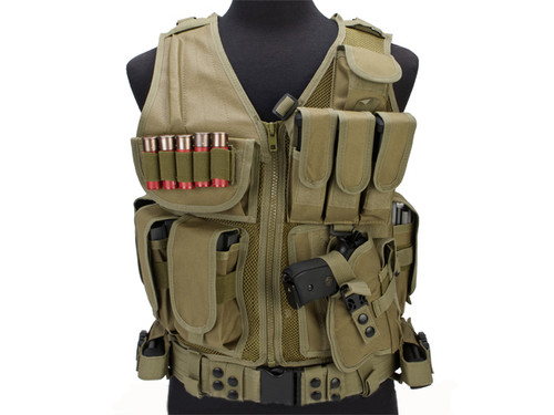 Matrix Special Force Cross Draw Tactical Vest w/ Built In Holster & Mag Pouches - Tan