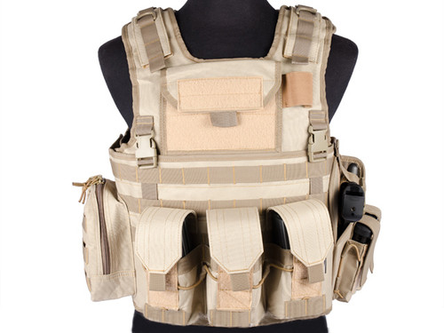 Matrix Variable Front Plate Vest w/ Integrated Pistol Holster - (Tan)