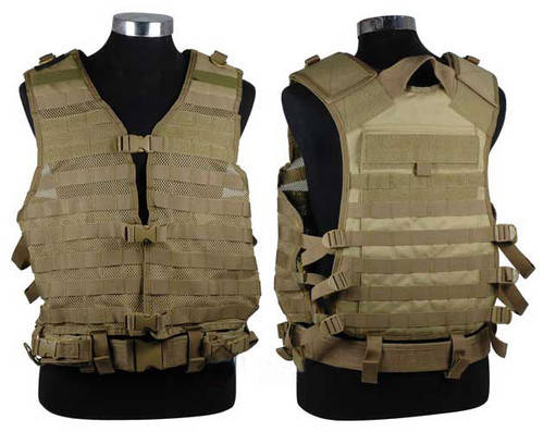 NcSTAR Tactical MOLLE Vest w/ Hydration Pouch and Pistol Belt. (Tan)