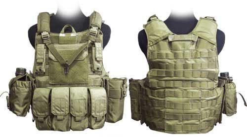 Phantom CORDURA 1000 Denier Force Recon Tactical Vest Full Set (Dark Tan / Large)