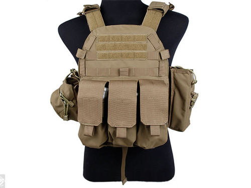 TMC Plate Carrier with 3 Pouches - Coyote Brown