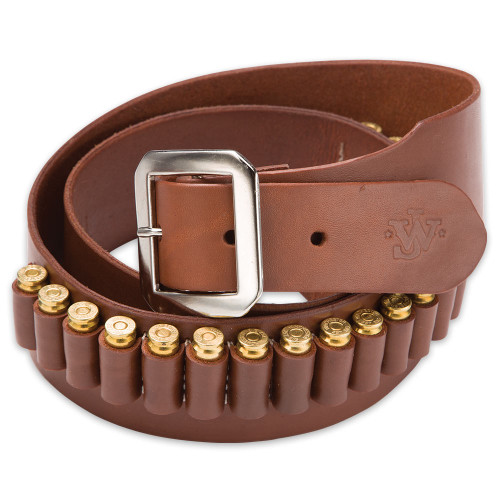 Mahogany Leather Gun Belt – 20-Cartridge Loops