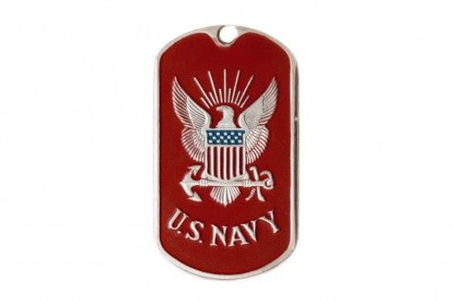 """Dog tag  - American Military  """"U.S. Navy"""" (Red)"""